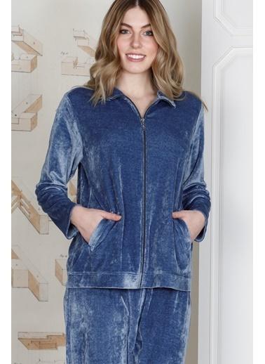 Hays Kadın Penye Modal Kadife 2li Uzun Takım Mavi
